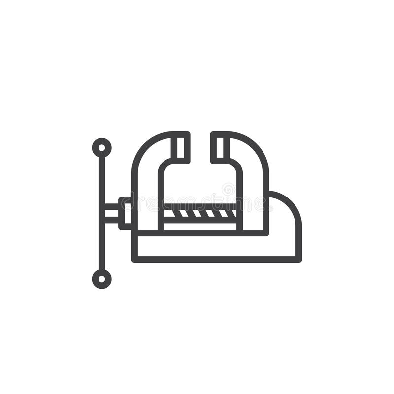 Workshop Bench Vise, Clamp line icon, outline vector sign, linear style pictogram isolated on white. royalty free illustration