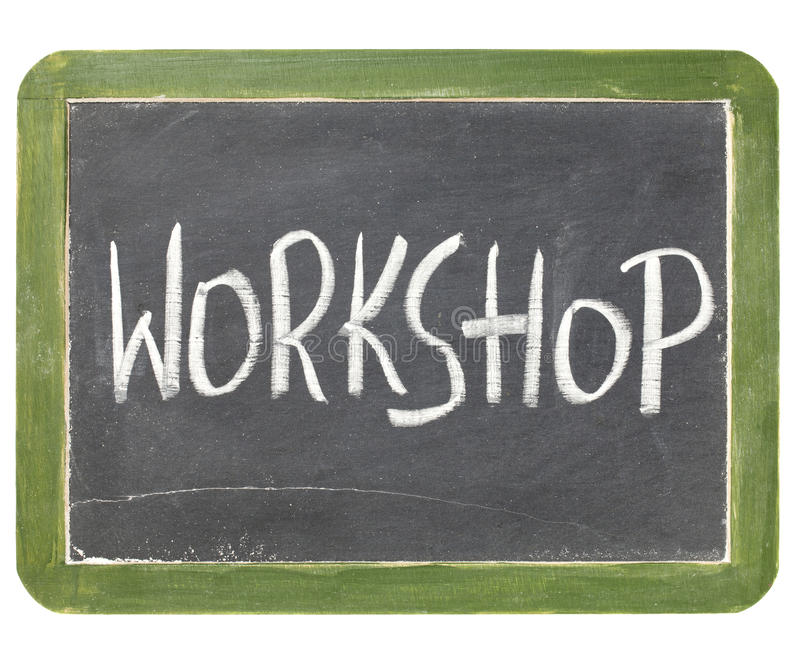 Workshop blackboard sign royalty free stock photos