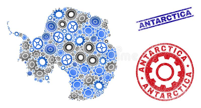 Workshop Collage Vector Antarctica Continent Map and Grunge Seals royalty free illustration