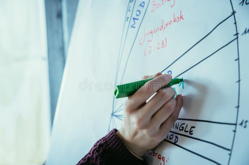 Workshop concept: woman drawing on a clipboard royalty free stock image