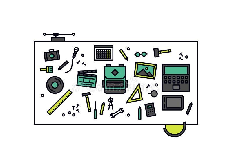 Workshop desk line style illustration stock illustration