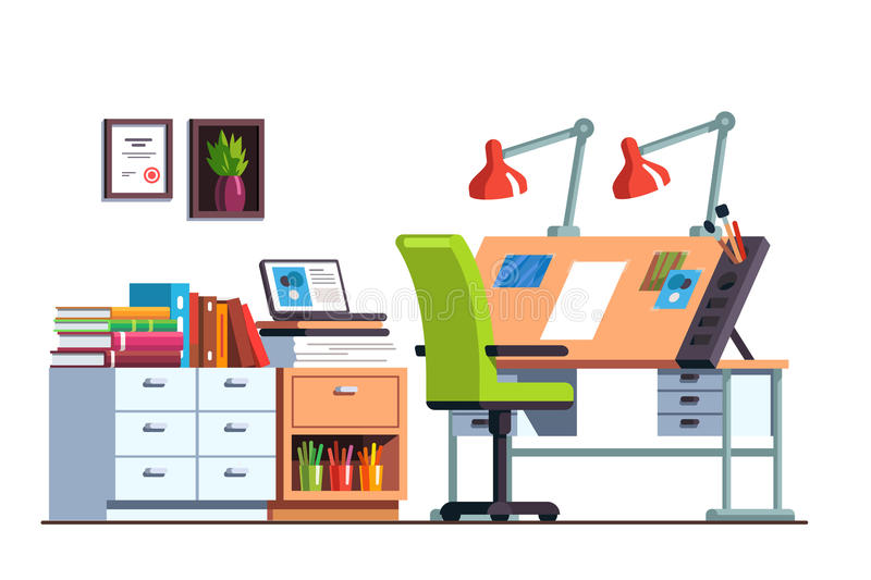Workshop or engineer office room with drawing desk royalty free illustration