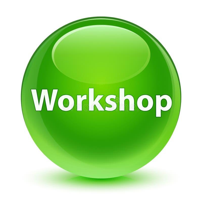 Workshop glassy green round button. Workshop isolated on glassy green round button abstract illustration royalty free illustration