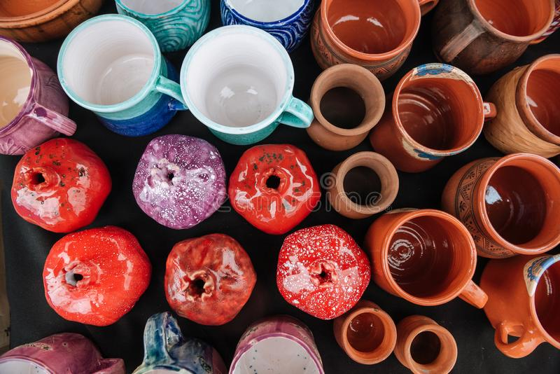 Workshop made ceramic cups. Top view. royalty free stock photography