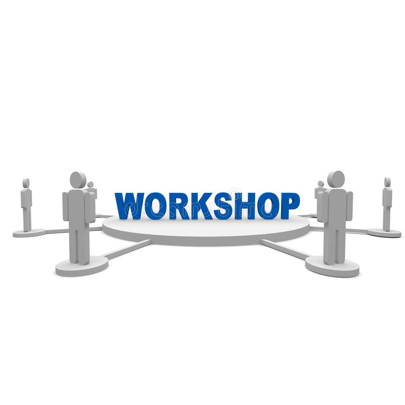 Workshop. People standing around a workshop text royalty free illustration