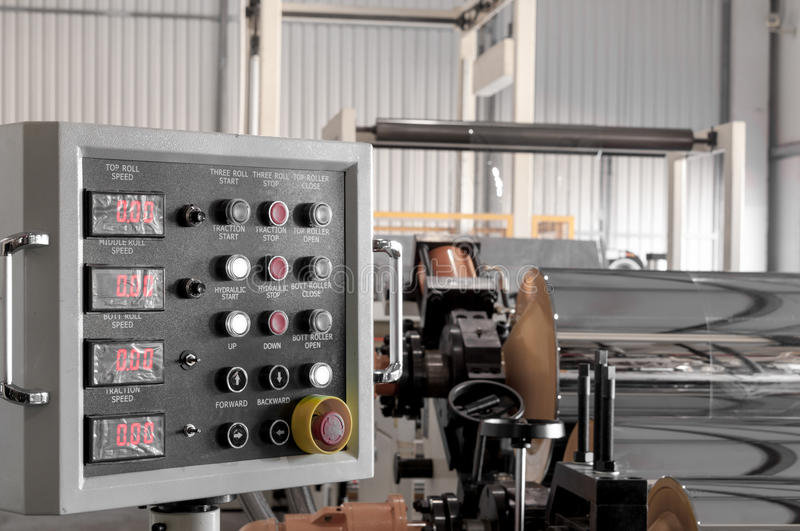 Workshop for production of polypropylene and polyethylene. The control panel at the plant for the production of cellophane and polypropylene closeup. the stock photos
