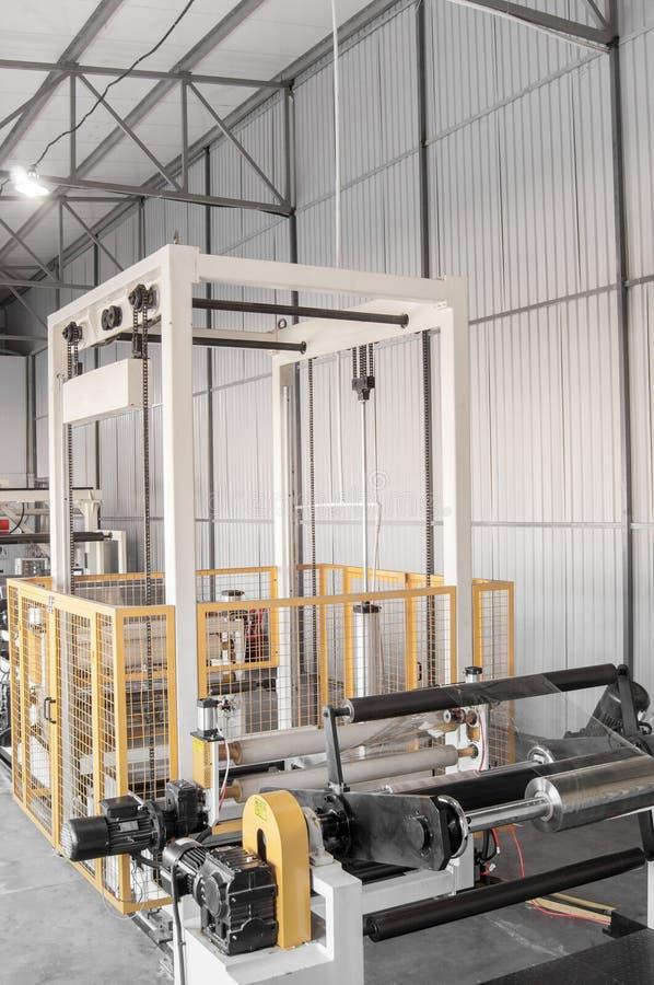 Workshop for production of polypropylene and polyethylene. Workshop and equipment for the production and fabrication of durable polyethylene and polypropylene royalty free stock photo