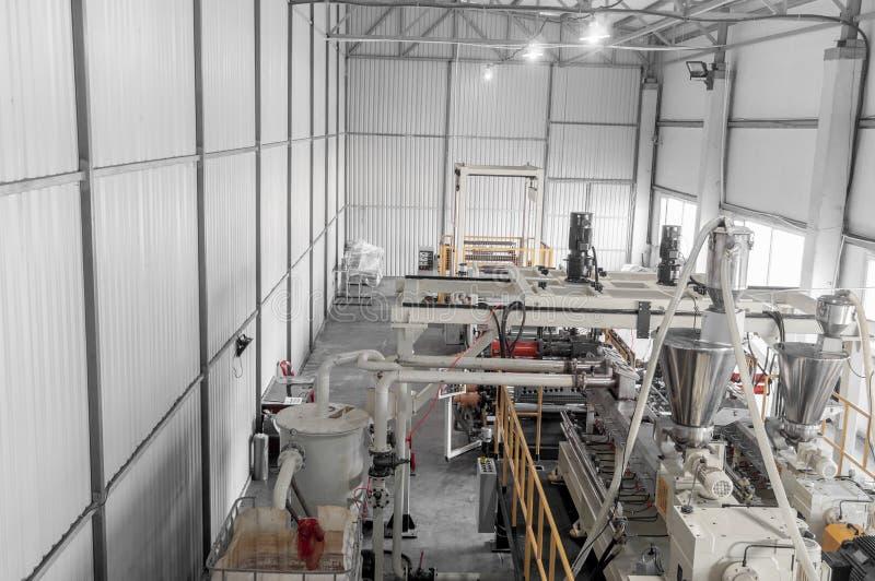 Workshop for production of polypropylene and polyethylene. Workshop and equipment for the production and fabrication of durable polyethylene and polypropylene stock image