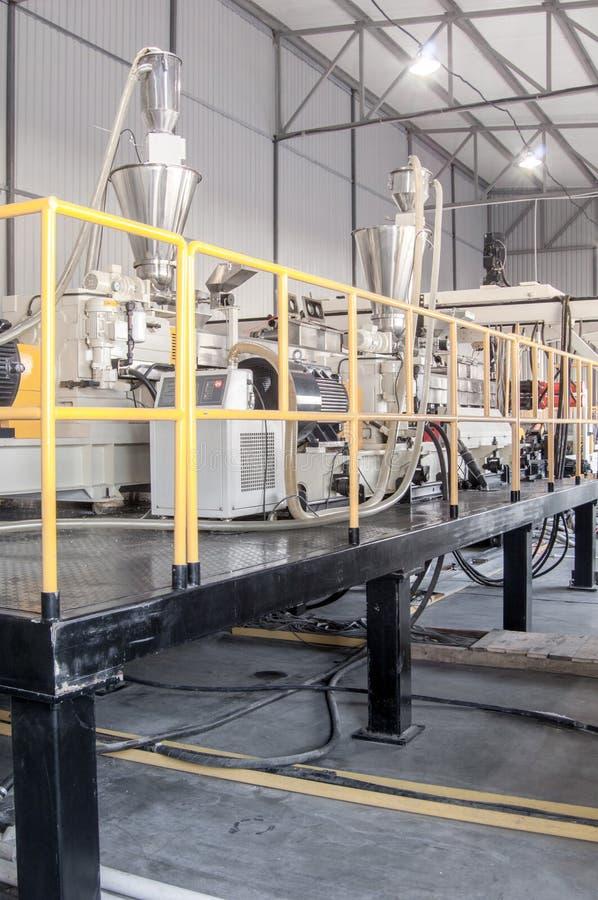 Workshop for production of polypropylene and polyethylene. Workshop and equipment for the production and fabrication of durable polyethylene and polypropylene royalty free stock images