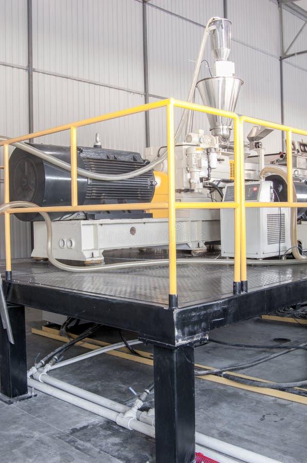 Workshop for production of polypropylene and polyethylene. Workshop and equipment for the production and fabrication of durable polyethylene and polypropylene stock photography