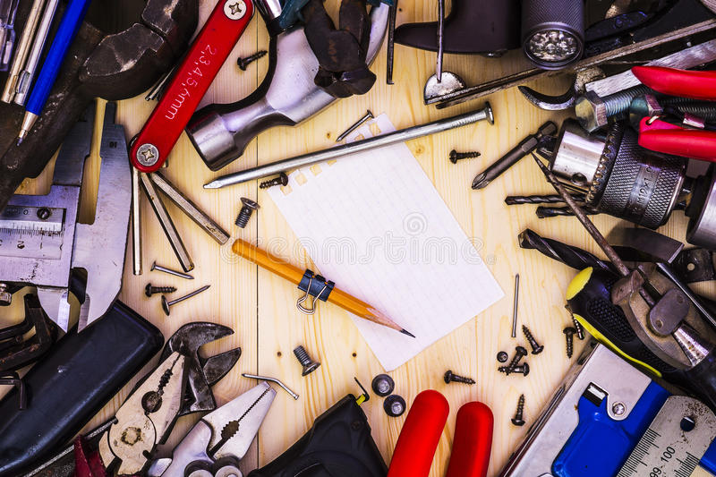 Workshop and tool as a frame royalty free stock photos