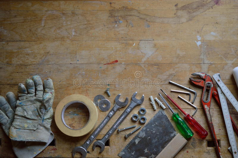 Workshop with tools for handyman stock photography