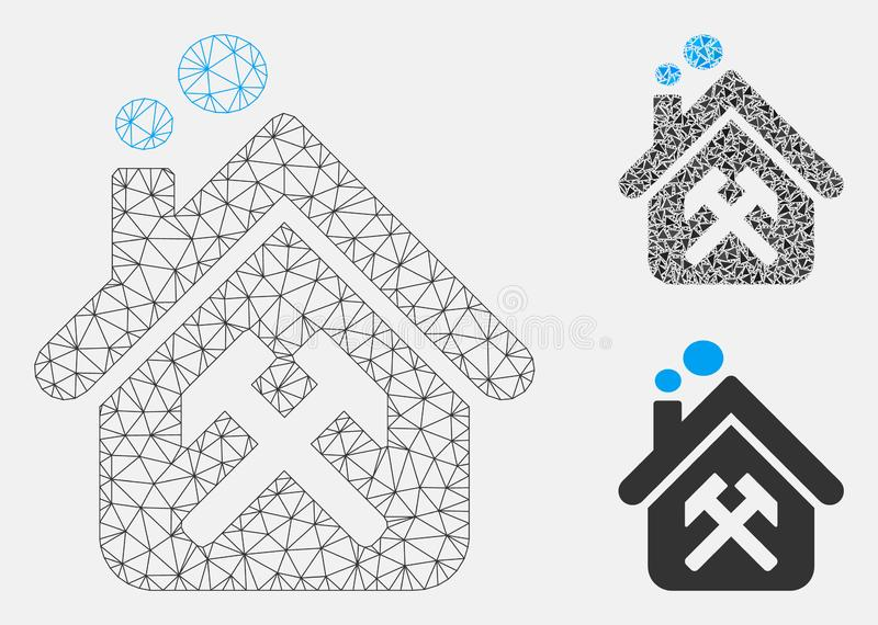 Workshop Vector Mesh Network Model and Triangle Mosaic Icon stock illustration