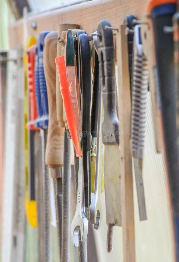 Workshophoogtepunt van hulpmiddelen stock afbeelding