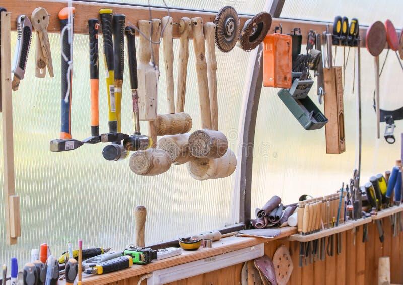 Workshophoogtepunt van hulpmiddelen stock foto's
