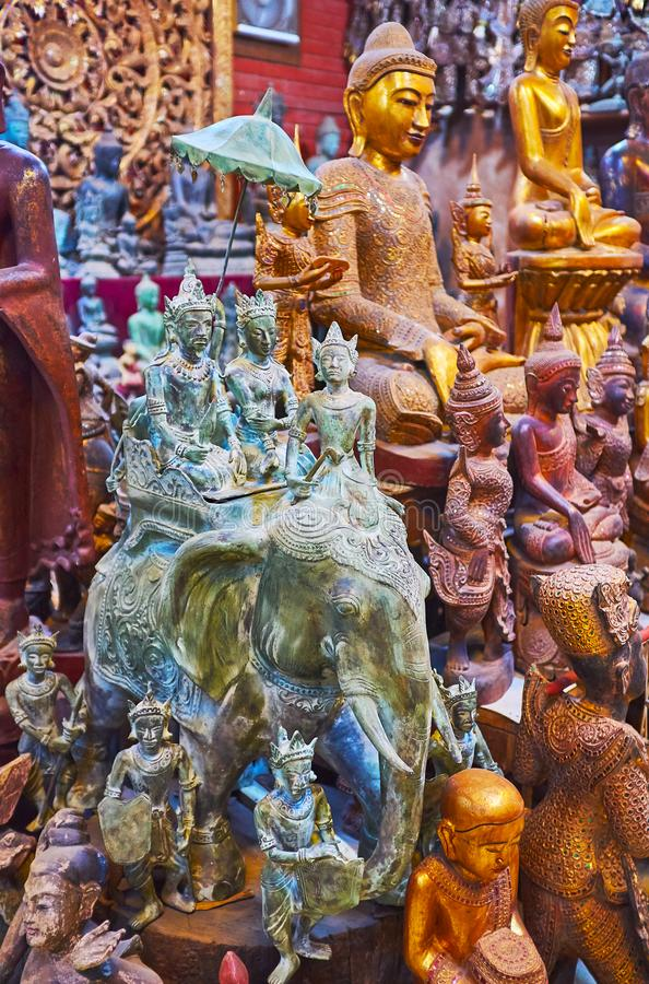 Enjoy traditional Burmese crafts, Shwe-gui-do quarter, Mandalay, Myanmar. Workshops of Shwe-gui-do quarter are best place to enjoy traditional crafts, watch stock images
