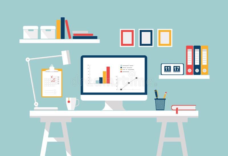 workspace Εσωτερικό Υπουργείων Εσωτερικών Μοντέρνο σπίτι ή στούντιο εργασιακός χώρος του σπουδαστή με τον υπολογιστή Διανυσματικό απεικόνιση αποθεμάτων