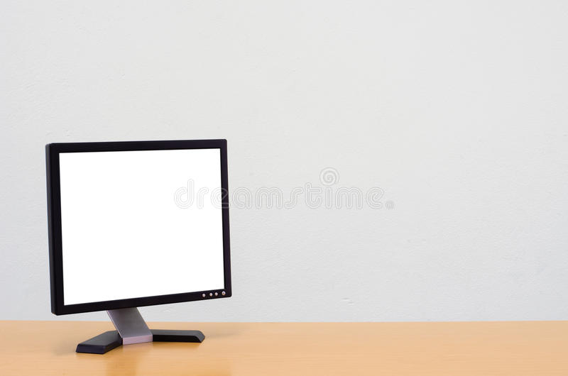 Workspace background, Blank white computer screen, monitor screen. On wooden desk, Computer on table stock photography