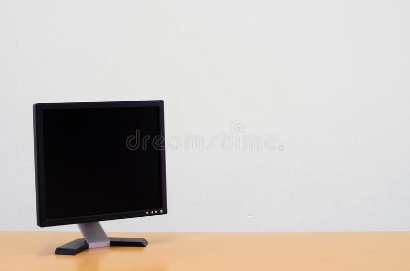 Workspace background, Blank white computer screen, monitor screen. On wooden desk, Computer on table royalty free stock images