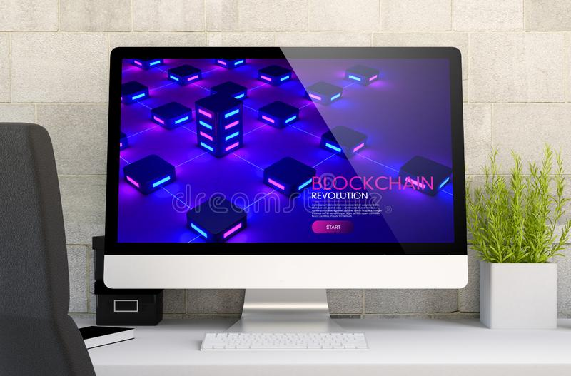 Workspace with blockchain website. 3d rendering of workspace with computer showing blockchain. All screen graphics are made up royalty free stock photos