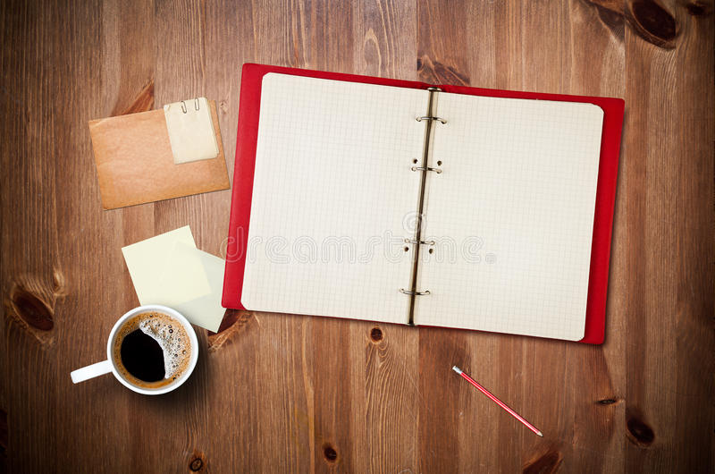 Download Workspace With Coffee Cup And Notebook Stock Image - Image: 26541893