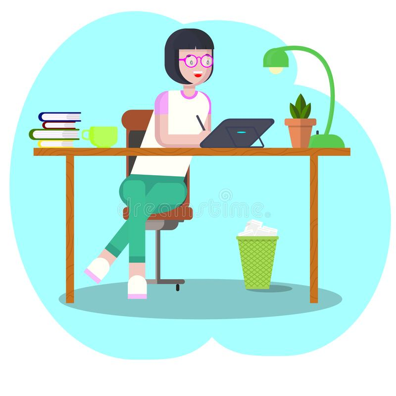 Workspace concept with devices. Girl student at workplace with a graphic tablet. Woman, businesswoman, graphic designer vector illustration