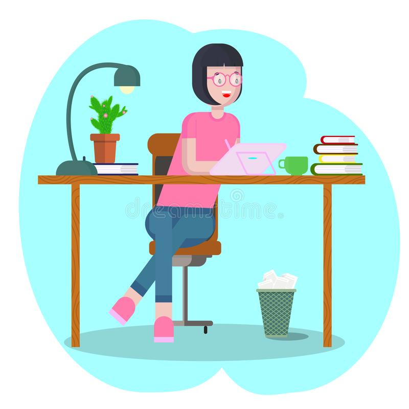 Workspace concept with devices. Girl student at workplace with a graphic tablet. Woman, businesswoman, graphic designer royalty free illustration