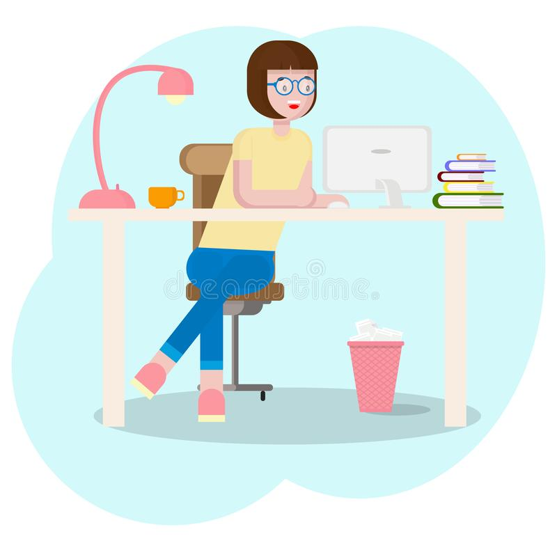 Workspace concept with devices. Girl student at workplace with graphic tablet. Young graphic designer woman using stock illustration