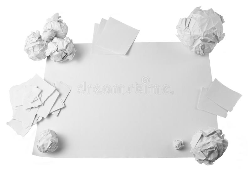 Workspace with crushed paper