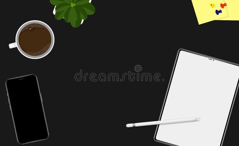 Workspace för bästa sikt med kaffe, minnestavla, växt, smartphone plant illustrationbaner för vektor stock illustrationer