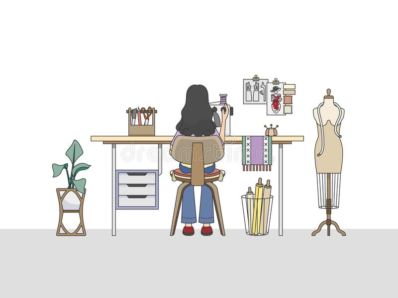 Workspace of a fashion designer, or a tailor. Vector stock illustration