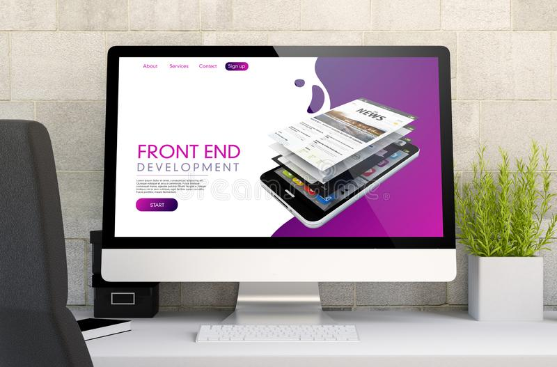 Workspace with front end website. 3d rendering of workspace with computer showing front end. All screen graphics are made up royalty free stock photos