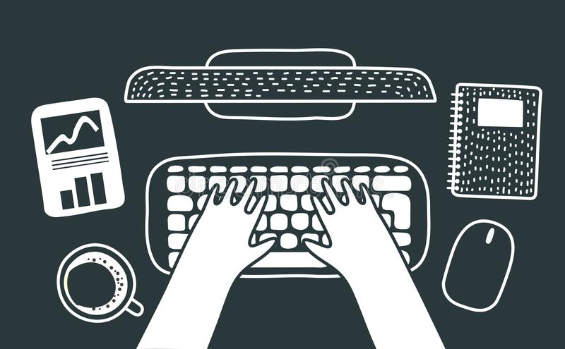 Workspace with hands typing on laptop with blank screen. Flat lay, top view. Woman entrepreneur hero background with laptop. Vector cartoon illustration of royalty free illustration