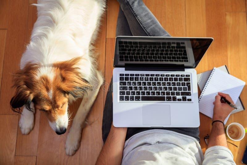 Workspace hemma Man arbete på golvet som hjälps av hans fotografering för bildbyråer