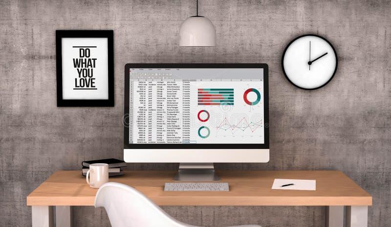 Workspace komputeru spreadsheet ilustracji