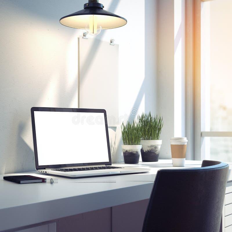 Download Workspace Med Den Moderna Bärbara Datorn För Silver Framförande 3d Fotografering för Bildbyråer - Bild av design, inre: 76704223