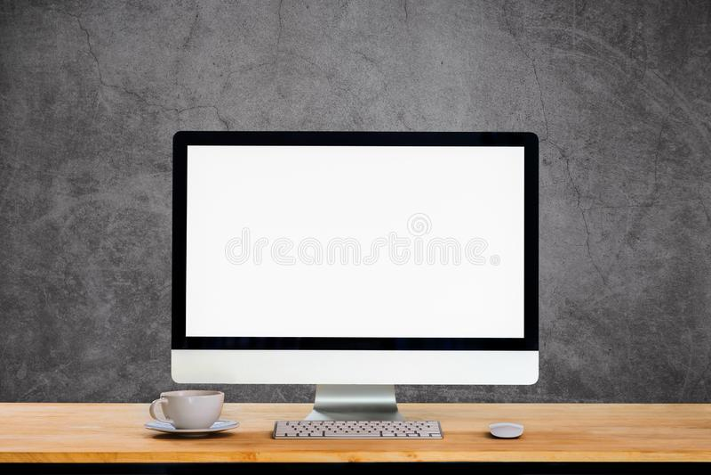 Workspace med den skrivbords- datoren arkivfoton