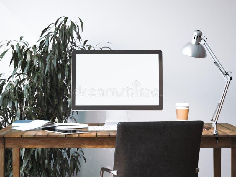 Download Workspace Med Den Tomma Skärmen Framförande 3d Fotografering för Bildbyråer - Bild av teknologi, dekor: 76704011