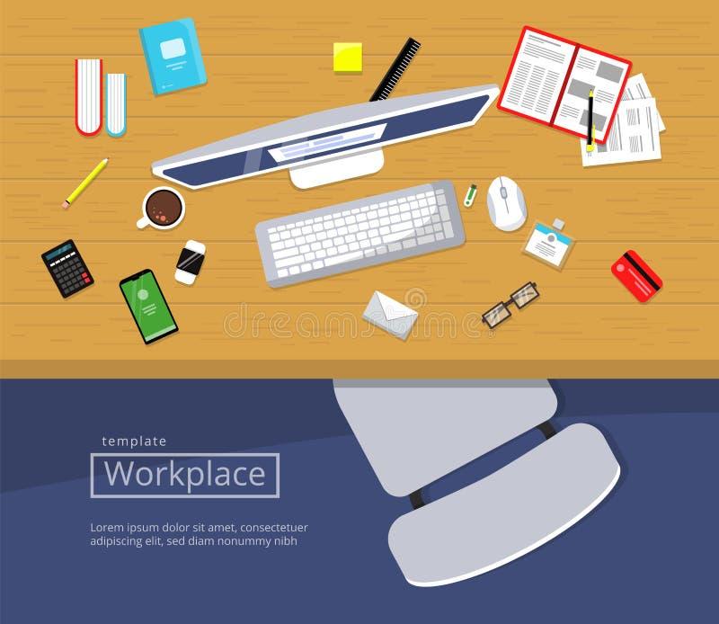 Workspace Odgórny widok Drewniany stół z biurowymi rzeczami monitoruje książka papierów biznesowego krzesła wektorową płaską ilus ilustracja wektor