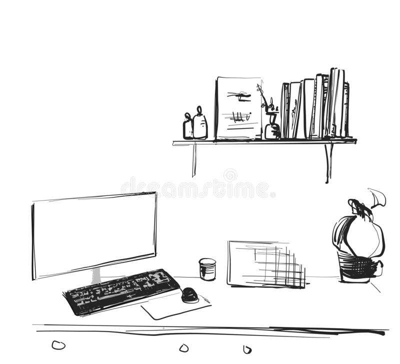 Workspace office desk computer chair potted plant. Interior sketch stock images