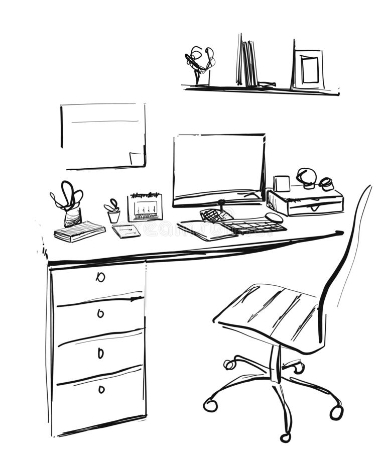 Workspace office desk computer chair potted plant. Interior sketch stock image
