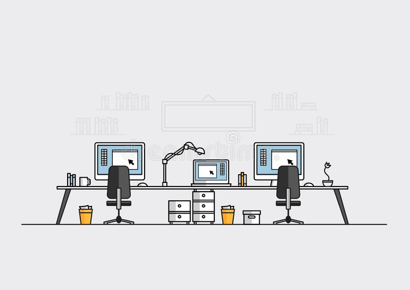 Workspace or office for work of creative graphic designer, laptop and computers on desktop, flat line vector and illustration. Workspace or office for work of stock illustration