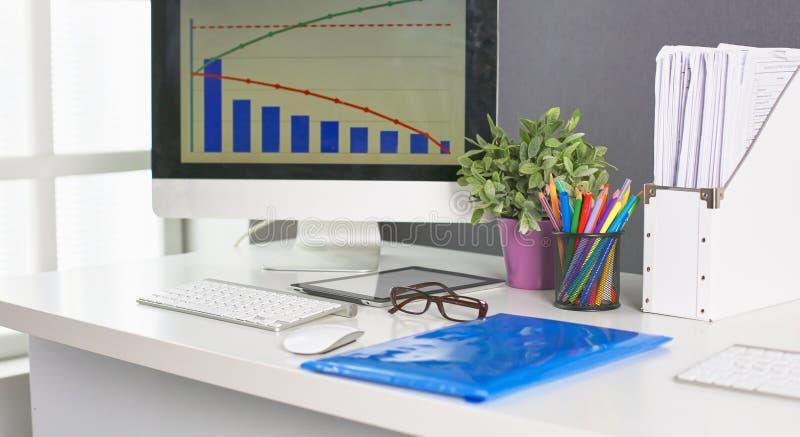 Workspace prezentaci mockup, komputer stacjonarny i biuro supp, obrazy royalty free