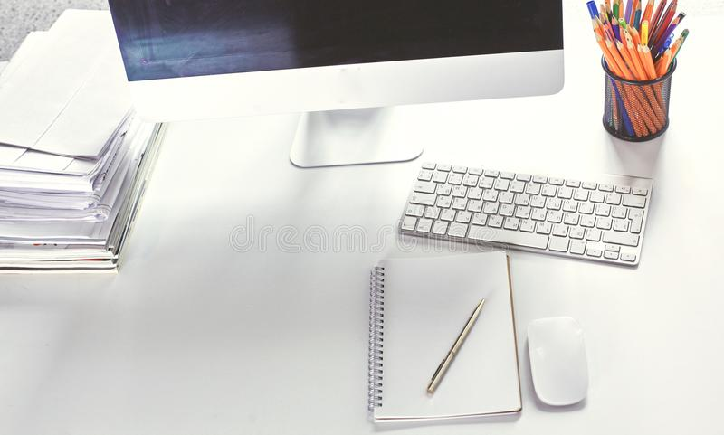 Workspace prezentaci mockup, komputer stacjonarny i biuro supp, zdjęcia stock