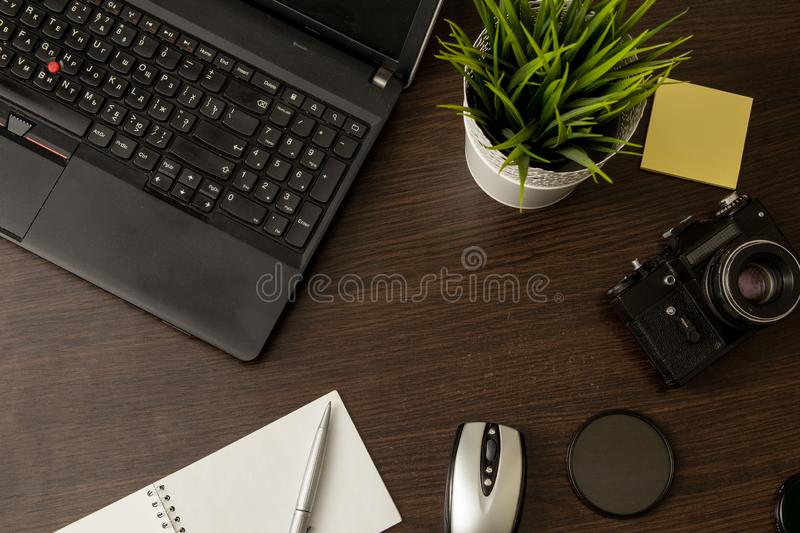 Workspace of professional photographer in dark colors royalty free stock photos