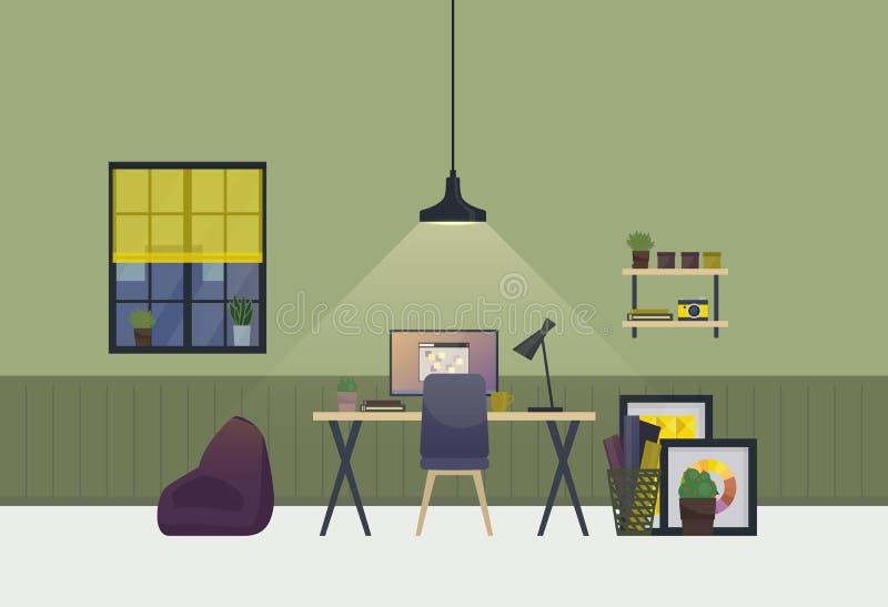 Workspace przestronnego pokoju wnętrze w wieczór Domowy akcydensowy mieszkanie lub mieszkanie z stołem i krzesłem, waza z roślina ilustracja wektor