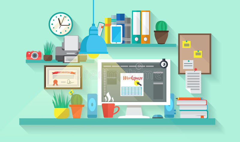 Workspace In Room royalty free illustration