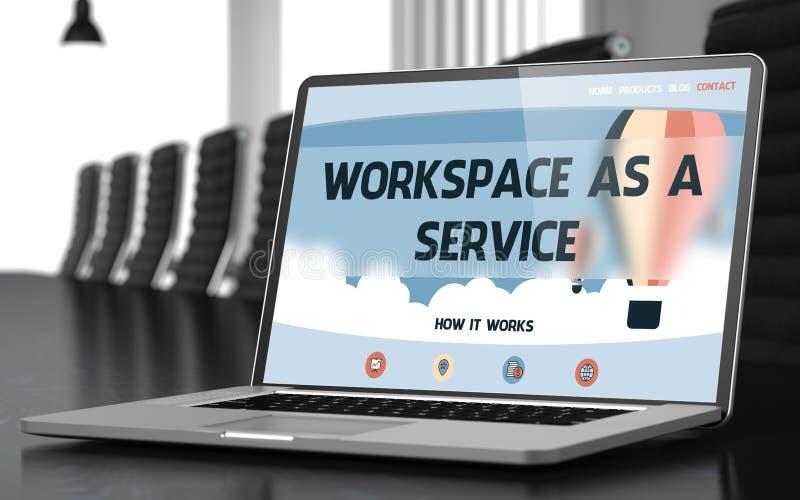 Workspace som en service på bärbara datorn i konferensen Hall 3d royaltyfri foto
