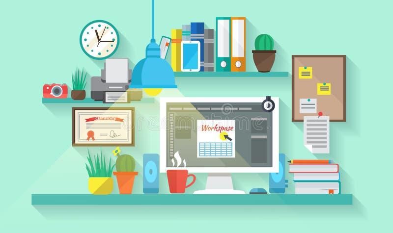 Workspace W pokoju royalty ilustracja
