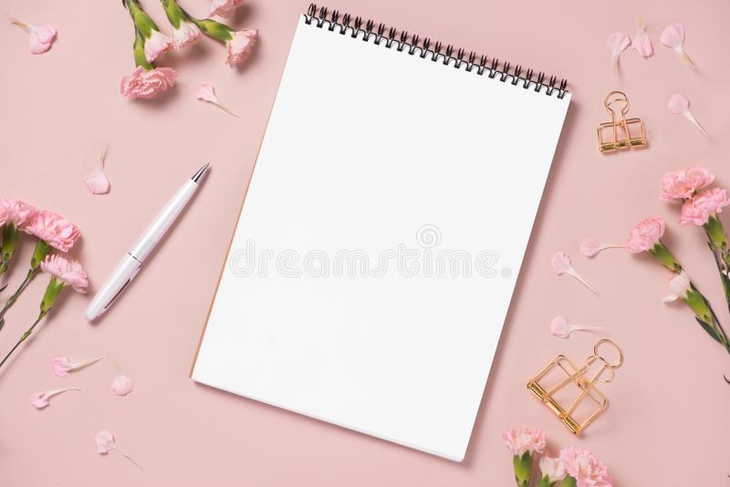 Workspace. Wedding planner. Decorations. Flat lay. royalty free stock photos
